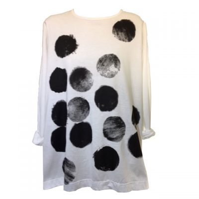 Moyuru – White with Black Spot Cotton Handcrafted Print Top