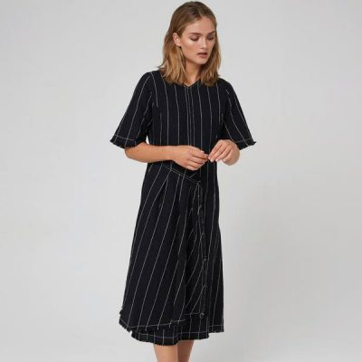 Morrison Black with Stripe Linen Kimora Dress