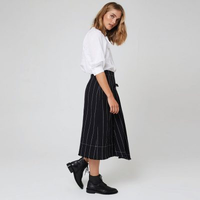 Morrison Black with Stripe Linen Kimora Skirt
